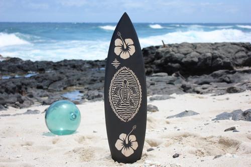 "Wooden Surfboard w/ Turtle & Hibiscus 30"" - Hawaii Decor | #sur16d75"