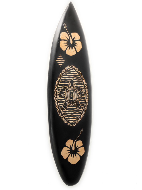 Wooden Surfboard W Turtle Hibiscus 30 Hawaii Decor Sur16d75