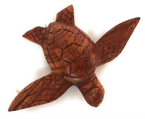 "Carved Hawaiian Sea Turtle Honu 5"" Stained - Hand Carved 