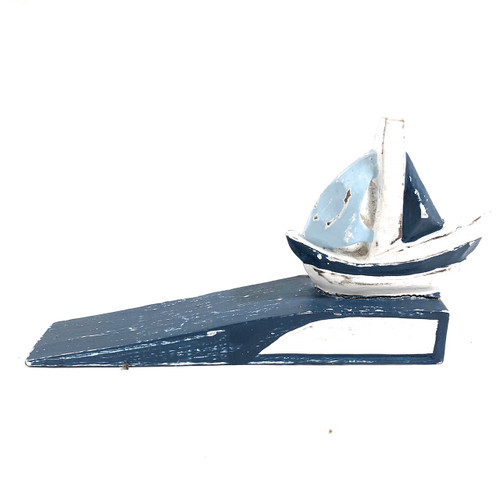 "Sailboat Door Stopper 7"" - Rustic Coastal Blue 