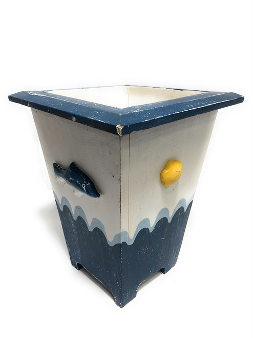 "Nautical Trash can 12"" - Wooden Vase - Coastal Decor 