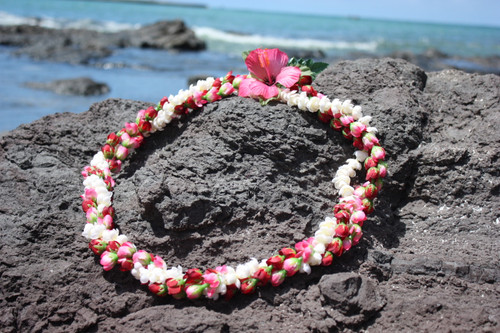 "Pikake/Rosebud Twirl Pink & Red 18"" - Hawaiian Silk Leis"