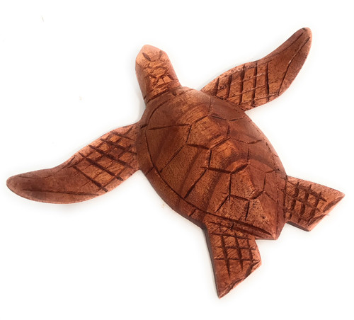"""Carved Hawaiian Sea Turtle Honu 6"""" Stained - Hand Carved   #raw0415"""