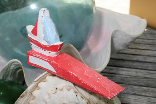 "Sailboat Door Stopper 7"" - Rustic Coastal Red | #Ort1701210r"