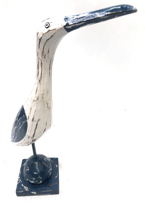 "Decorative Heron Bird 14"" - Rustic Blue Coastal Decor 