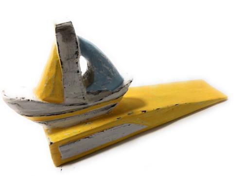 "Sailboat Door Stopper 7"" - Rustic Coastal Yellow | #Ort1701210y"