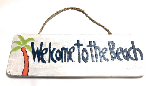 "Welcome To The Beach Sign 14"" - Coastal Decor 