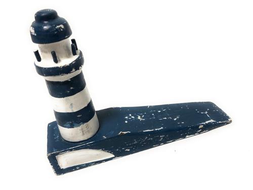 "Lighthouse Door Stopper 7"" - Rustic Coastal Blue | #Ort1701310b"
