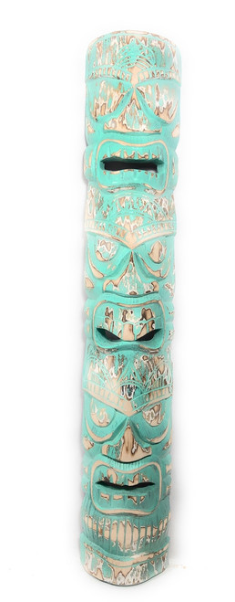 "Love, Prosperity & Health Tiki Mask 40"" - Turquoise Weathered Finish 