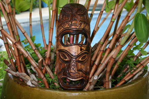 "Fijian Tiki Mask 12"" - 2 Deities Strength & Abundance | #mdr1900230"