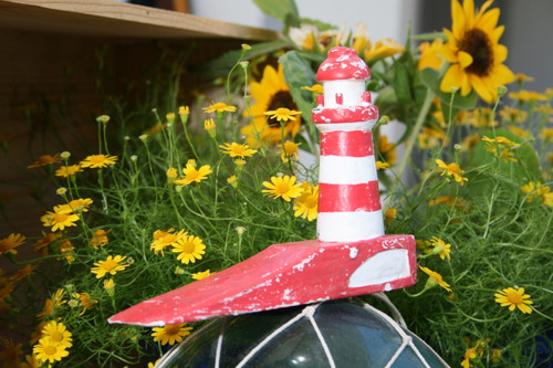 """Lighthouse Door Stopper 7"""" - Rustic Coastal Red 