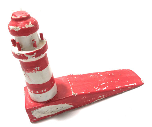 "Lighthouse Door Stopper 7"" - Rustic Coastal Red 