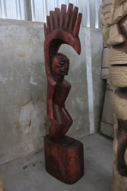 Tiki Goddess Pele - 6 Feet Hand Carved Replica Stained - Muse De L'Homme Museum