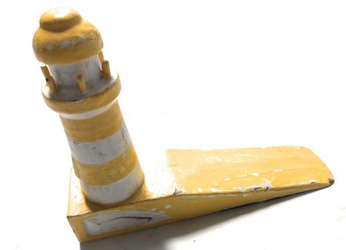 "Lighthouse Door Stopper 7"" - Rustic Coastal Yellow   #ort1701310y"