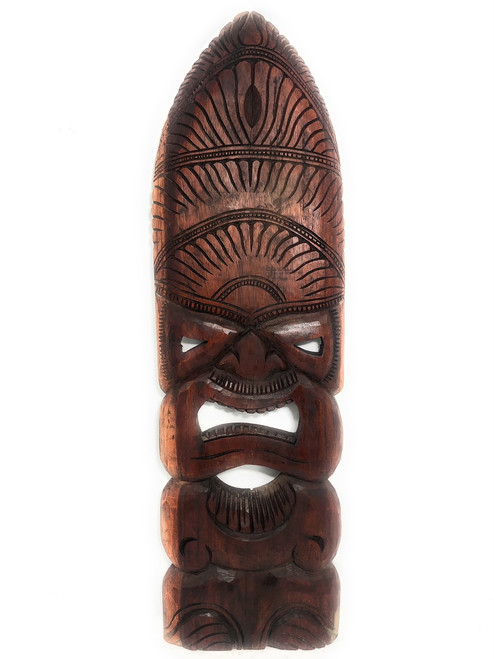 "God of Surf Tiki Mask 36""- Stained Monkeypod Hand Carved 