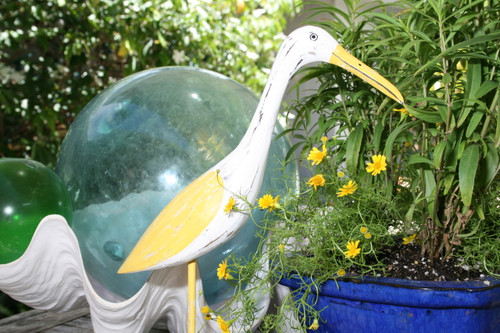"Decorative Heron Bird 14"" - Rustic Yellow Coastal Decor | #ort1704834y"