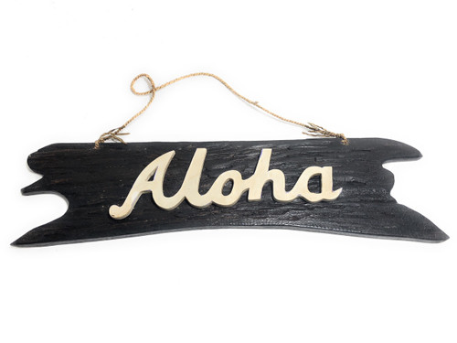 """""""Aloha"""" Sign on Driftwood 20"""" - Wooden Greeting Sign 