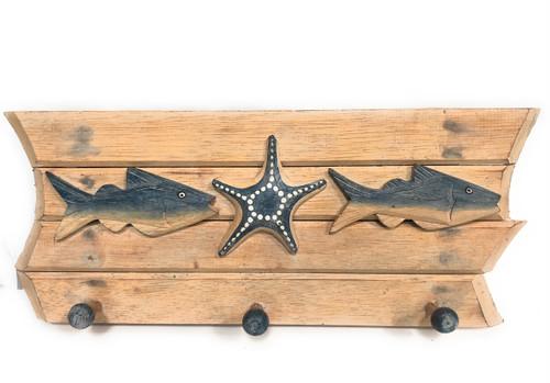 "Hanger w/ Fish & Starfish 20"" - White Wash Nautical Decor Accents | #snd2500346"