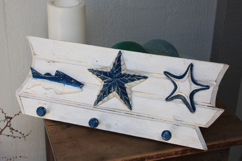 "Hanger w/ Fish & Starfish 20"" - 3 Pegs Coastal Decor | #snd2500446"
