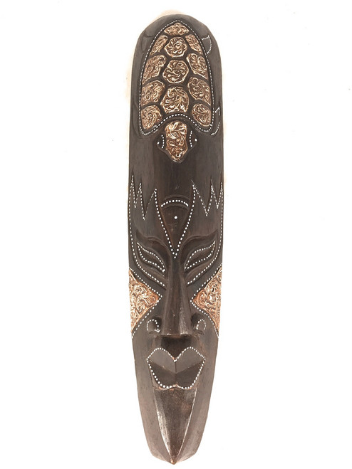 "Tribal Chief Tiki Mask 20"" w/ Turtle - Primitive Art   #wib370650f"