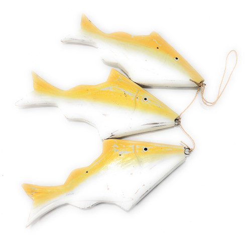 "Garland W/ Cluster Of 3 Fish 15"" - Yellow Coastal Accent 