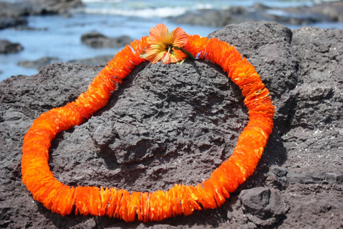 "Flower Lei Ilima Orange 18"" - Hawaiian Silk Leis"