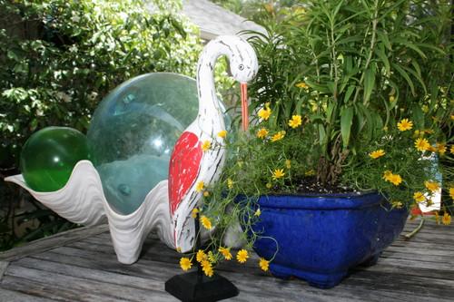 "Decorative Egret Bird 14"" Wooden - Rustic Red Nautical Accent | #ort1704934r"