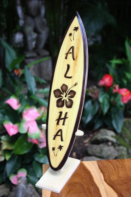"Classic Surfboard Aloha w/ Hibiscus 16"" - Trophy | #wai350140f"