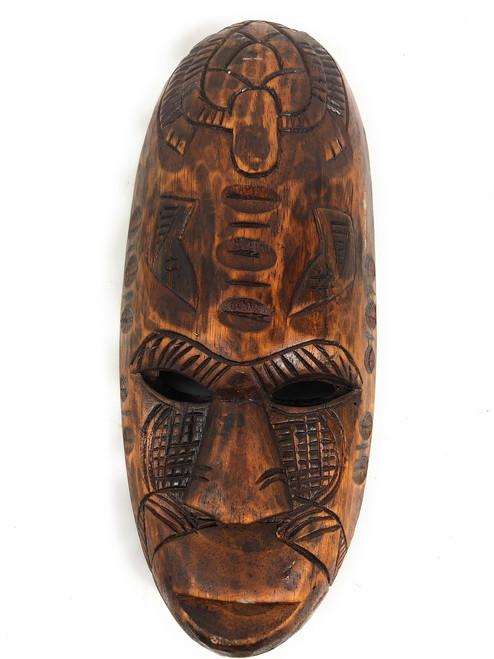 "Fijian Tiki Mask 12"" w/ Turtle & Dancing Knife - Tropical Decor | #mdr1901430"