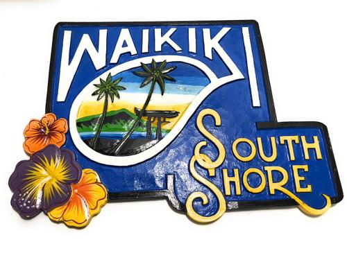 """Waikiki South Shore Surf Sign 24"""" - Wall Decor Accents   #ldr03"""