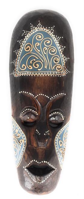 """Tribal Tiki Mask 12"""" Blue - Tattoo Primitive Art   #wib370330b"""