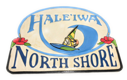 "Haleiwa, Northshore Windsurfing Sign 24"" - Wall Decor 