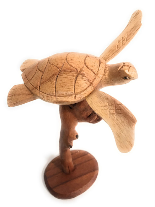 "Swimming Sea Turtle w/ Driftwood Base 9""H X 6""W - Carved 