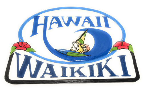 "Waikiki, Hawaii Windsurfing Sign 24"" - Wall Decor Accents 