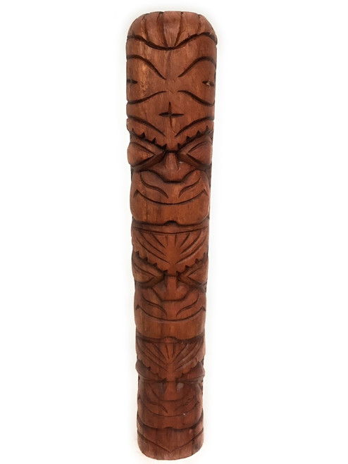 "Smiley Happy/Love/Money Tiki Totem 20"" Stained - Carved 