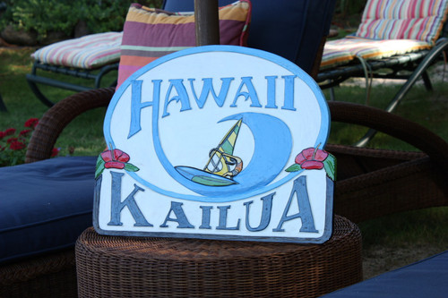 "Kailua, Hawaii Windsurfing Sign 24"" - Wall decor Accents | #ldr07"