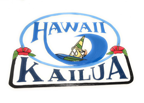 "Kailua, Hawaii Windsurfing Sign 24"" - Wall decor Accents 