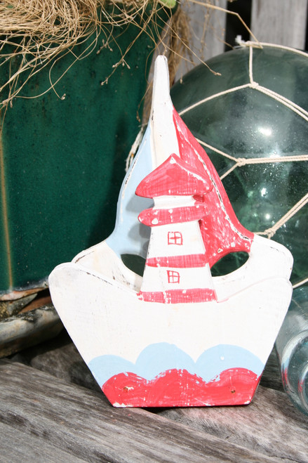 "Napkins/Letter Holder 8"" Lighthouse - Red Nautical Decor 