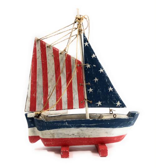"Americana Decorative Sail Boat 16"" - Patriotic Theme | #ort17076"