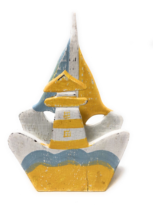 "Napkins/Letter Holder 8"" Lighthouse - Yellow Nautical decor 