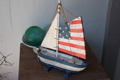 """Americana"" Sail Boat 16"" - Patriotic Theme | #ort17077"