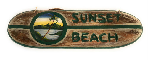 "Sunset Beach Surf Sign 20"" - Hand Painted 