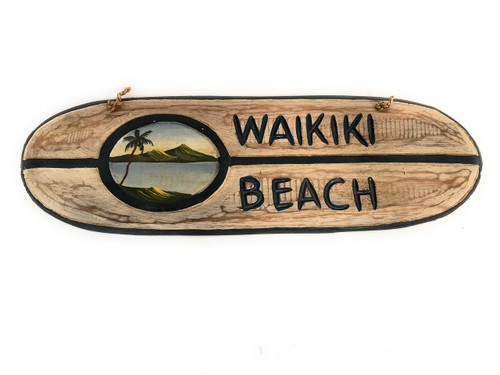 "Waikiki Beach Surf Sign 20"" - Hand Painted 