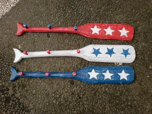 """Americana Oar Hanger/Key Holder 22"""" Blue - 3 Pegs   #ort17079b"""