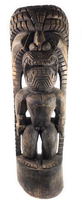 "Tiki God Of King Kamehameha 48"" - Kuka Ilimoku - Stained   #yda11031120b"