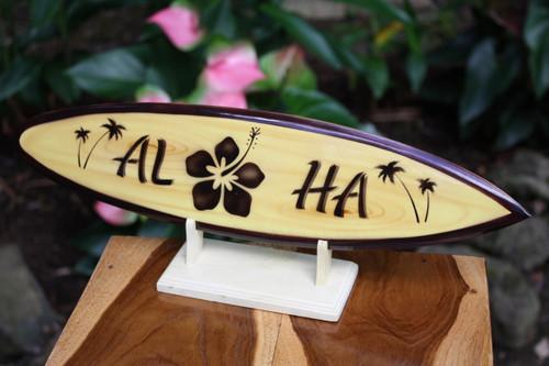 "Classic Surfboard Aloha w/ Hibiscus 16"" - Trophy   #wai350240f"