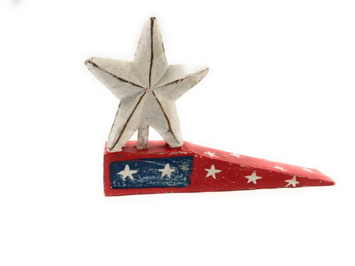 "Americana Door Stopper Red w/ Star 4"" - USA Decor 