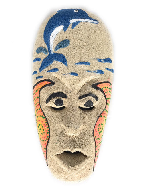 "Sand Tiki Mask 8"" w/ Dolphin - Decorative Primitive Art 