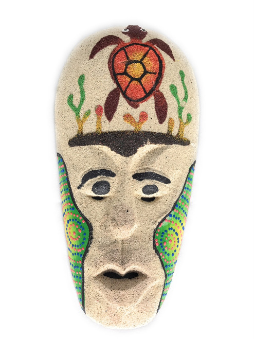 "Sand Tiki Mask 8"" w/ Turtle - Decorative Primitive Art 