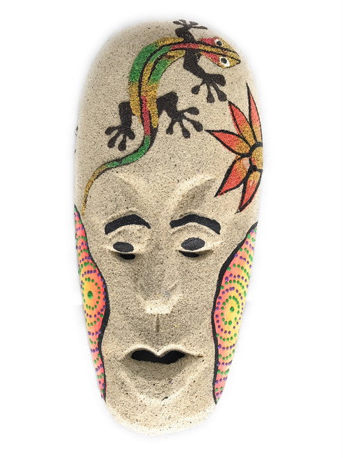 "Sand Tiki Mask 8"" w/ Gecko - Decorative Primitive Art | #wib370720c"